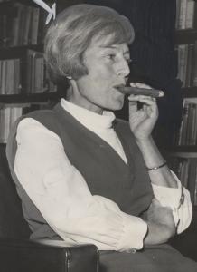 Emily Hahn smoking a cigar in 1964.